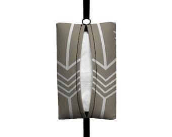 Auto Sneeze - Arrows - Visor Tissue Case/Cozy - Car Accessory Automobile Light Taupe White
