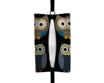 Auto Sneeze - Owls - Visor Tissue Case/Cozy - Car Accessory Automobile - Midnight Blue Black