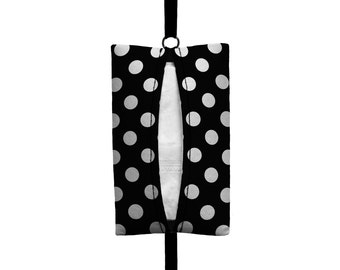 Auto Sneeze - Polka Dot - Visor Tissue Case/Cozy - Car Accessory Automobile Polkadot Black White