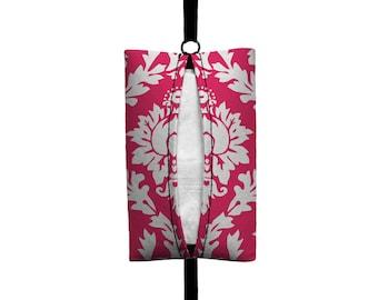 Auto Sneeze - Damask - Visor Tissue Case/Cozy - Car Accessory Automobile - Hot Pink White