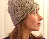 Ribbed slouchy hat or beanie with detailed band
