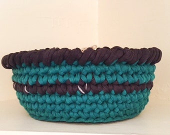 Recycled tshirt yarn crochet basket