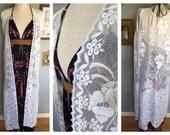 Lace Sleeveless Kimono, Lace Kimono, Vintage Lace Kimono, Boho Wedding Lace Kimono, Kimono, Boho Fringe Kimono