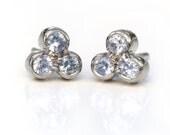 Sapphire Trefoil Earrings, 18k White Gold Studs, Handmade in the UK