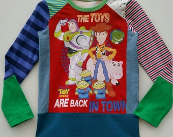 Size 5T(42 3/4 inch) Upcycled Boys long sleeve tee shirt toystory