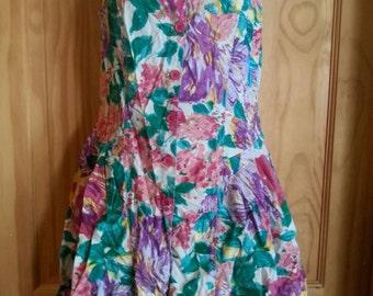 Vtg. 80s Floral Romper Playsuit Jumpsuit Size Medium