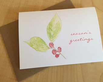 Winter Red Berries Holiday Cards - Season's Greetings Cards - Watercolor Botanical Holiday Note Cards - Holiday Watercolor Cards - Box of 6