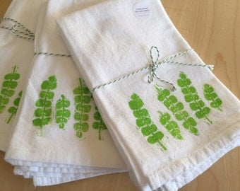 Creeping Jenny - Fern Towel - Green Plants - Soft Cotton Flour Sack Napkins or Hand Towels - Hand Block Printed - Set of 2 - READY TO SHIP
