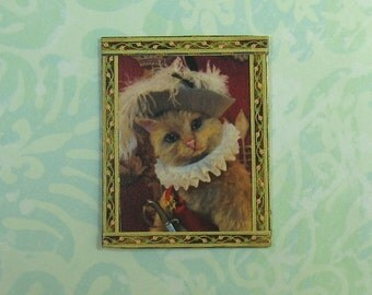 Dollhouse Miniature Framed Puss In Boots Portrait