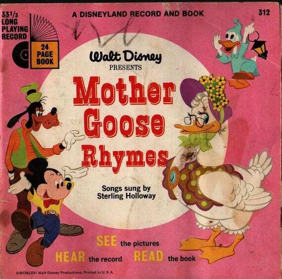 Walt Disney Presents Mother Goose Rhymes - 1952 - Vintage Kids Book