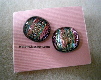 Pink Dichroic Fused Glass Earrings on Sterling Silver Posts, Willow Glass, Glass Jewelry, Glass Earrings