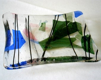 Fused Glass Soap Dish in Autumn Leaves by Willow Glass, Glass Soap Dish, Home Decor, Green Blue