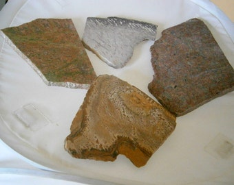 Lot of Stone Slabs, Picture Jasper, Granite, Unakite, Natural Rock Slabs, Clearance Sale