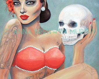pinup catrina, giclee archival print of original acrylic painting- 8x10 on 10x12 paper