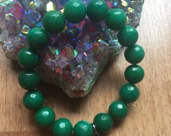 Bright Green Jade Stretch Bracelet with Buddha Charm