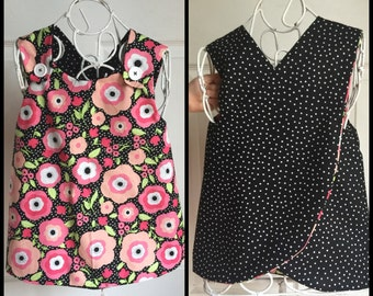 Reversible Pinafore Top for Girls size 4-6T Black Flower Dot