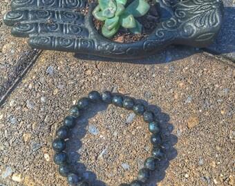 Genuine Labrodorite Beaded Stretch Bracelet