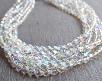 The Rebecca- Crystal Aurora Borealis Statement Necklace