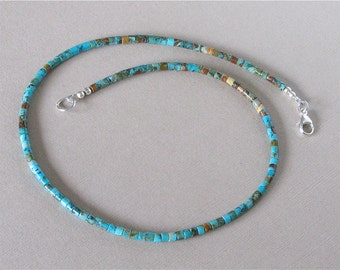 Kingman Boulder Turquoise Heishi Necklace 17 1/2 inches - 3mm Heishi Beads - Classic Southwest Jewelry for Men and Women - Arizona Turquoise