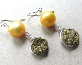 Druzy Earrings, Golden Yellow Pearls, Wire Wrapped Natural Druzy, Sterling Silver Ear Wires, Dainty One of a Kind, Destination Wedding