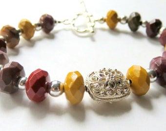Mookaite Jasper Bracelet, Autumn Gemstones, Earthy Fall Fashion Colors, Earth Tone Mookaite Stones, Sterling Silver Focal Bead, Toggle Clasp
