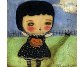 Something wicked this way comes - Halloween mixed media witch and pumpkin painting reproduction on paper or wood, handmade by Danita Art