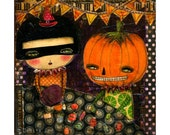 Let's count our candy lot -  Halloween mixed media painting print Danita Art, whimsical art on wood or frameable paper print