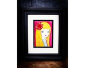 Sunshine - An original watercolor female portrait painting on paper made by Danita Art