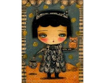 OWL-O-WEEN Owl Costume Kid - Halloween mixed media painting print Danita Art, whimsical girl mounted on wood or frameable paper print