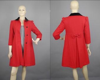 Vtg 80s Red Wool black Peter Pan velvet Collar babydoll Princess Coat sz XS