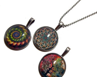 Lot of 3 - Rainbow Fractal, Green Tan Flower of Life, Tree of Life Pendants 1 Inch Photo Pendant with 24 inch Ball Necklace