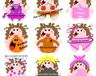 Kittypinkstars positivity stickers pack 16