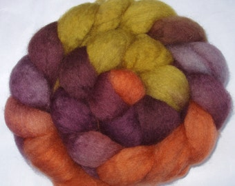 BFL superwash wool roving, spinning fiber, hand painted roving, hand dyed combed top, british wool, purple, orange,autumn, 100g, 3.5oz