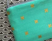 Gold X  zipper pouch clutch - Small change or coin purse