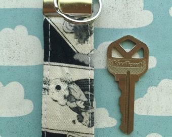 Alice in Wonderland mini key FOB , Keychain , Fabric Key FOB