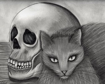 Witch Cat Cards Skull Gothic Fantasy Cat Art 4 Postcards Cat Lovers Gift