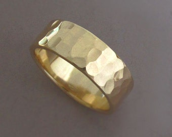 Men's Wedding Ring Hammered 14k Recycled Yellow Gold - 7 mm