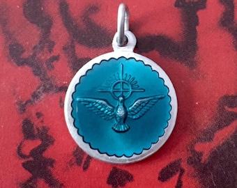 HOLY SPIRIT MEDAL Vintage Blue Enamel France
