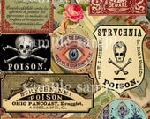 ANTIQUE Poison Labels - instant DIGITAL download - COLLAGE sheet - apothecary - vintage - Victorian potion labels