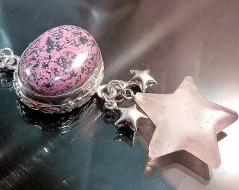 Rhodonite Stars Necklace Sterling Silver Celestial Pink & Black outer space chandelier