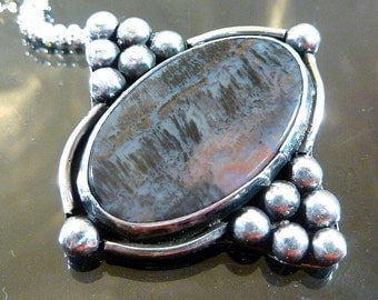 Graveyard Plume Agate Pendant Sterling Silver Twilight Waterfall big cab necklace victorian steampunk