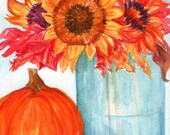 Rustic art,  Sunflower PRINT of painting 5 x 7 Fall leaves, pumpkin watercolor painting, Mason Jar art sunflower decor