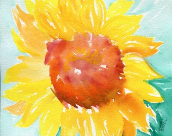 Sunflower watercolor painting original, 8 x 10,  Original sunflower, Watercolor sunflower, flower watercolor, sunflower minty home decor