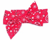 Headwrap, Girls Headwrap, Baby Girl Headwrap, Head Wrap, Girls Headband, Big Bow Headwrap, Photo Prop, Country Red Bandana  - RED BANDANA