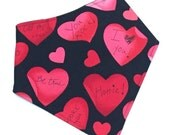 Valentine's Day Bandana Bib, Drooler Bib, Valentine's Day Bibdana for Girl or Boy - Gender Neutral Bib  -  RED CONVERSATION HEARTS
