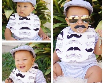 Moustache Baby Bib  -  Chenille Triple Layer Design  -  Where's My Stache Mustache