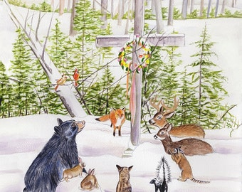 Christmas watercolor, animals Christmas Eve, woodland animals art, original painting, forest animals, Michigan forest art, animals by cross