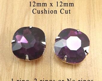 Amethyst Purple Glass Beads, Cushion Cut, Octagon, Silver Plated Brass Settings, 12mm x 12mm, Rhinestone, Glass Gems, Cabochon, One Pair