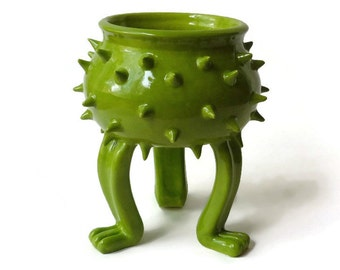 Apple Green Ceramic Grouchy Pot Planter with Spikes - Planter Pot