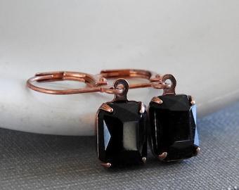 Black Earrings, Jet Black, Copper Earrings, Vintage Glass Charms, Faceted Black, Rhinestone Earrings